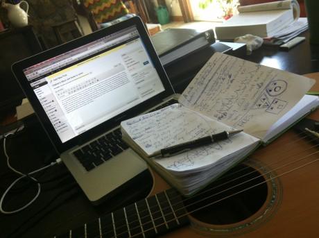 writing, journal, computer,guitar